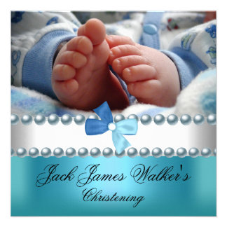 Christening Boy White Blue Pearl Bow Add Photo Invitation