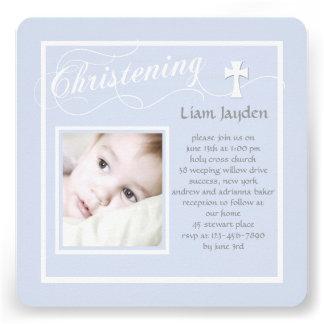 Christening Calligraphy Blue Photo Invitation