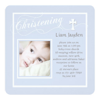 Christening Calligraphy Blue Photo Invitation