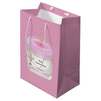 Christening candles girl * choose background color medium gift bag