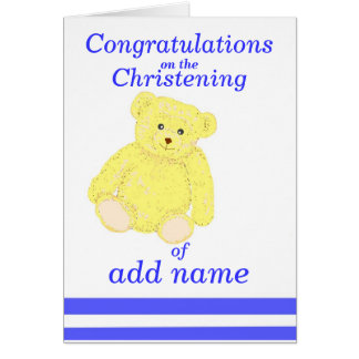 Christening congratulations card Boy name front