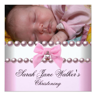 Christening Girl Pink White Pink Pearl Photo 13 Cm X 13 Cm Square Invitation Card