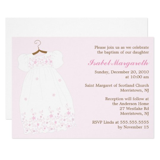 Christening Gown Baby Girl Baptism Card