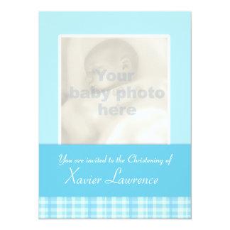 Christening invitation card - blue check