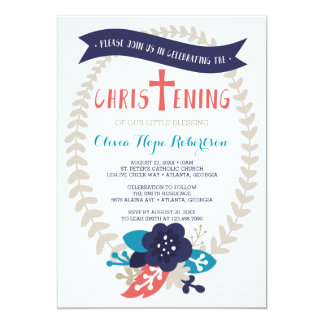 Christening Invitation, Floral, Contemporary Card