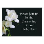 Christening Invitation for a Baby Son - Freesias
