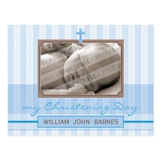 CHRISTENING INVITATION :: stylish stripe 1 Postcard