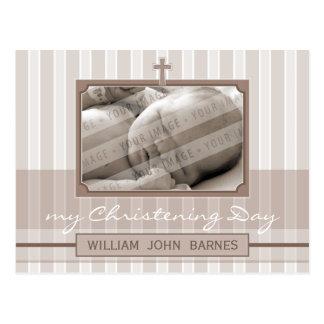 CHRISTENING INVITATION :: stylish stripe 2 Postcard