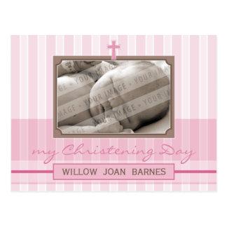 CHRISTENING INVITATION :: stylish stripe 3 Postcard