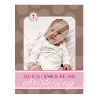 CHRISTENING INVITE polka dot - pink Postcards