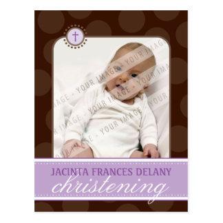 CHRISTENING INVITE :: polka dot - violet Postcard