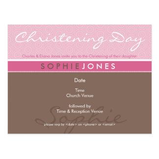 CHRISTENING INVITE :: simply groovy 1 Postcard