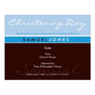 CHRISTENING INVITE :: simply groovy 2 Postcard