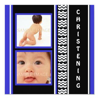 Christening modern baby boy blue 13 cm x 13 cm square invitation card
