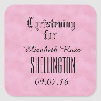 Christening or Baptism for Girl PINK CLOUDS Square Sticker