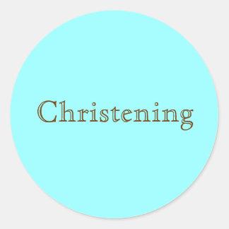 Christening Round Sticker