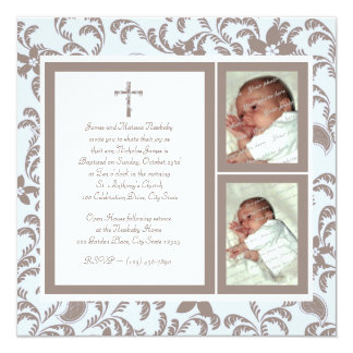 Christening Soft Blue and Brown Paisley Photo Card