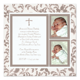 Christening Soft Pink and Brown Paisley Photo 13 Cm X 13 Cm Square Invitation Card