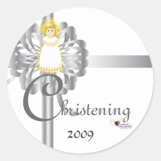 Christening! Sticker-Customize Round Sticker