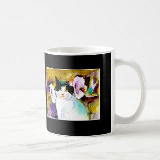 """Christeve the Cat with Hummingbird"" Print on Coffee Mug"