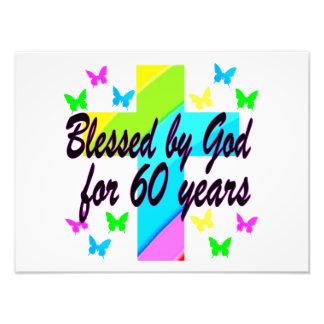 CHRISTIAN 60 BIRTHDAY CROSS DESIGN PHOTOGRAPHIC PRINT