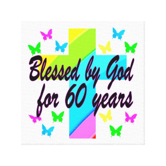 CHRISTIAN 60 BIRTHDAY CROSS DESIGN STRETCHED CANVAS PRINTS