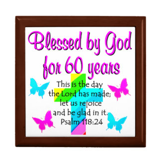 CHRISTIAN 60 YEAR OLD PRAYER LARGE SQUARE GIFT BOX