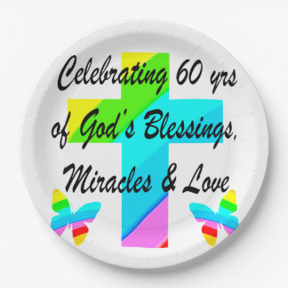 CHRISTIAN 60TH BIRTHDAY CROSS AND BUTTERFLY DESIGN 9 INCH PAPER PLATE