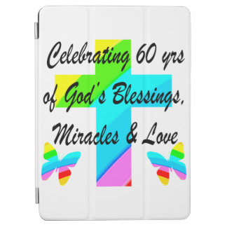 CHRISTIAN 60TH BIRTHDAY CROSS AND BUTTERFLY DESIGN iPad AIR COVER