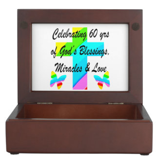 CHRISTIAN 60TH BIRTHDAY CROSS AND BUTTERFLY DESIGN MEMORY BOXES