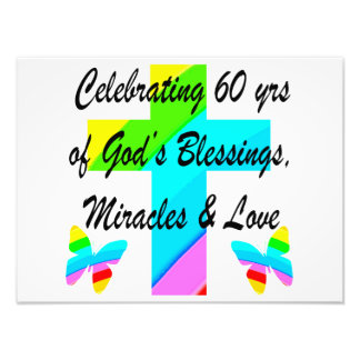 CHRISTIAN 60TH BIRTHDAY CROSS AND BUTTERFLY DESIGN PHOTO PRINT