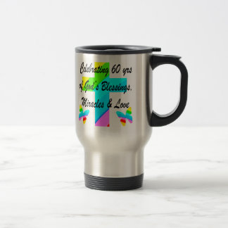 CHRISTIAN 60TH BIRTHDAY CROSS AND BUTTERFLY DESIGN STAINLESS STEEL TRAVEL MUG