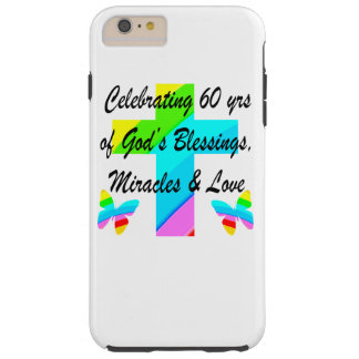 CHRISTIAN 60TH BIRTHDAY CROSS AND BUTTERFLY DESIGN TOUGH iPhone 6 PLUS CASE