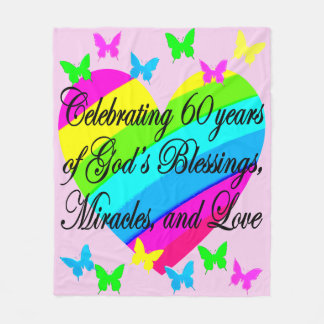 CHRISTIAN 60TH BIRTHDAY LOVE HEART BLANKET