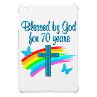 CHRISTIAN 70TH BIRTHDAY CROSS AND RAINBOWS iPad MINI COVER