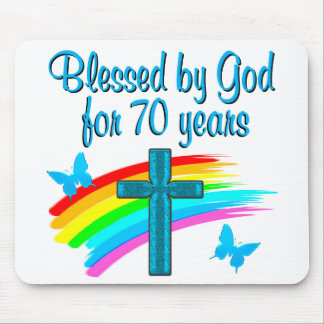 CHRISTIAN 70TH BIRTHDAY CROSS AND RAINBOWS MOUSE PAD