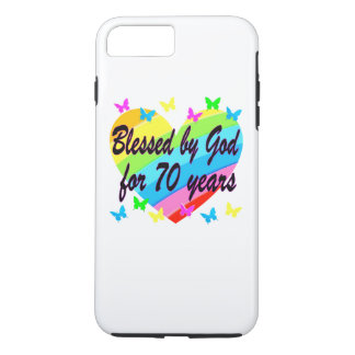 CHRISTIAN 70TH BIRTHDAY HEART DESIGN iPhone 7 PLUS CASE