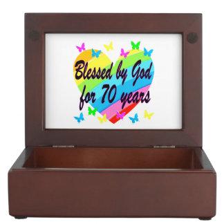 CHRISTIAN 70TH BIRTHDAY HEART DESIGN KEEPSAKE BOX