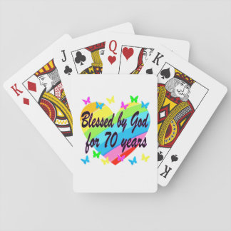CHRISTIAN 70TH BIRTHDAY HEART DESIGN PLAYING CARDS