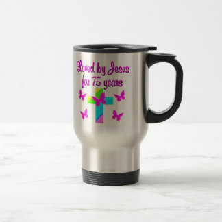 CHRISTIAN 75TH PERSONALIZED BIRTHDAY DESIGN STAINLESS STEEL TRAVEL MUG