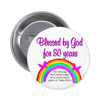 CHRISTIAN 80TH BIRTHDAY 6 CM ROUND BADGE
