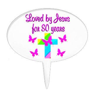 CHRISTIAN 80TH BIRTHDAY CROSS DESIGN CAKE PICKS