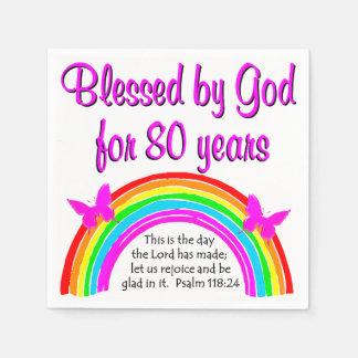 CHRISTIAN 80TH BIRTHDAY PAPER SERVIETTES