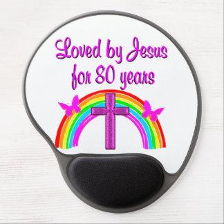 CHRISTIAN 80TH BIRTHDAY RAINBOW DESIGN GEL MOUSE PAD