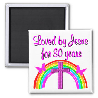 CHRISTIAN 80TH BIRTHDAY RAINBOW DESIGN SQUARE MAGNET