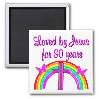 CHRISTIAN 80TH BIRTHDAY RAINBOW DESIGN SQUARE MAGNET