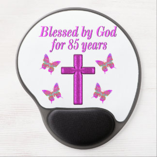 CHRISTIAN 85TH BIRTHDAY PINK CROSS DESIGN GEL MOUSE PAD