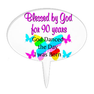 CHRISTIAN 90 YEAR OLD CAKE TOPPERS