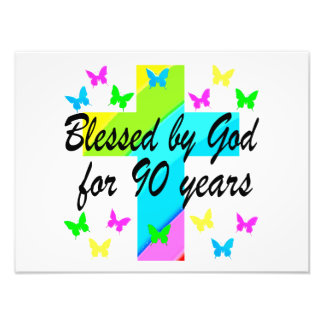 CHRISTIAN 90TH BIRTHDAY PRAYER DESIGN PHOTO PRINT