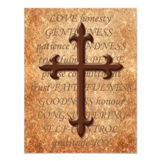 Christian Aged Iron Cross RSVP Card 11 Cm X 14 Cm Invitation Card